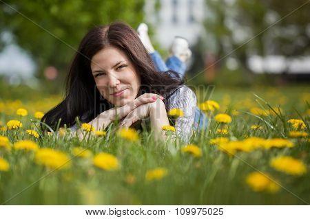 Pretty Woman Lying Down On Dandelions Field, Happy Cheerful Gir