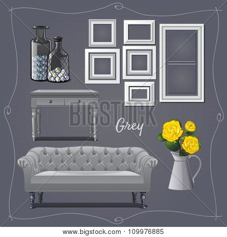 Modern interior design in grey, the furniture and decor