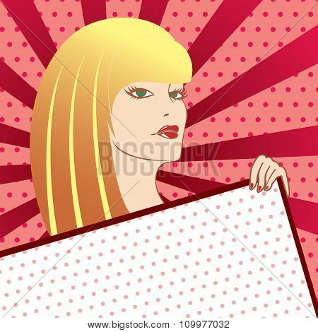 A Woman In A Pop Art Style With A Sign In Hand