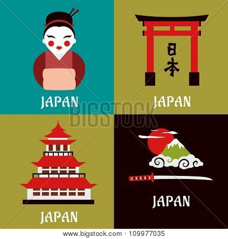 Japanese culture and religious flat icons