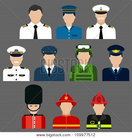 Firefighter, soldier, pilot and captains avatars