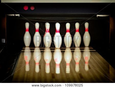 Bowling pins in the bowling club. Closeup view