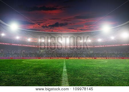 football stadium before the game. night lighting
