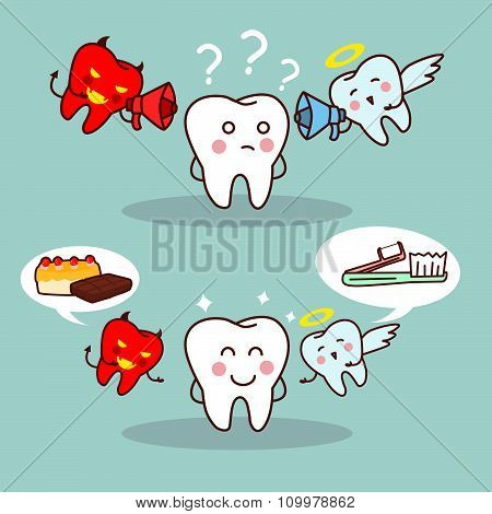 Cute Cartoon Teeth Think