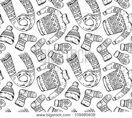 Seamless Vector Pattern With Winter Holiday Elements.