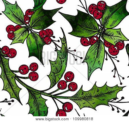 - Holly And Tree Branches With Watercolor Texture. Christmas And New Year Sketch