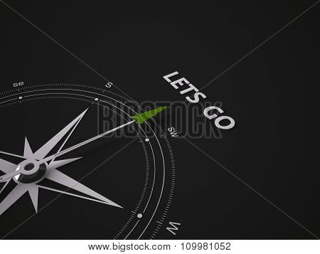 A Frameless Compass On Black Background