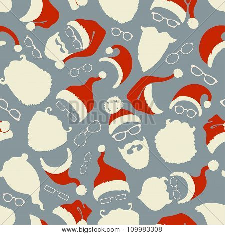 Seamless Pattern Of Santa Hats, Beards And Eyeglasses.