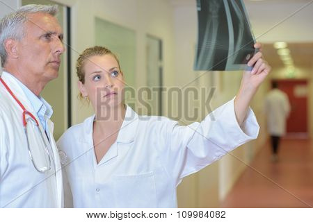 Two medics looking at xray
