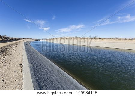 California aqueduct flowing through the Mojave desert in northern Los Angeles County.