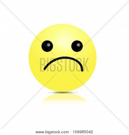 Vector smiley unhappy offended. 3D volumetric image .