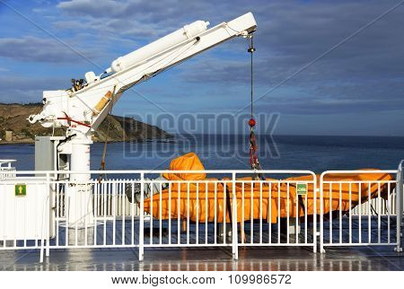 Safety boat lift on a ship