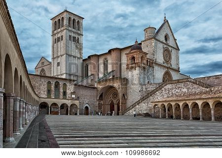 Basilica Of St. Francis Of Assisi (basilica Papale Di San Francesco) With Lower Plazain . Assisi, Um