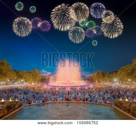 Beautiful fireworks under Magic Fountain in Barcelona