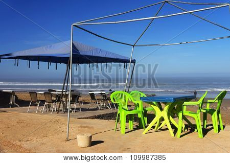 Terrace at Legzira Beach, Morocco, Africa