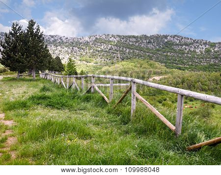 Mountain Landscape With Wooden Fence