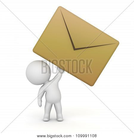3D Character With Large Mail Envelope