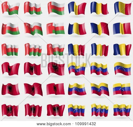 Oman, Romania, Albania, Venezuela. Set Of 36 Flags Of The Countries Of The World.