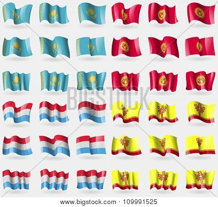 Kazakhstan, Kyrgyzstan, Luxembourg, Chuvashia. Set Of 36 Flags Of The Countries Of The World.
