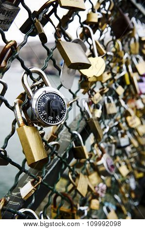 Padlocks Attached To The Bridge As A Sign Of Love Connection