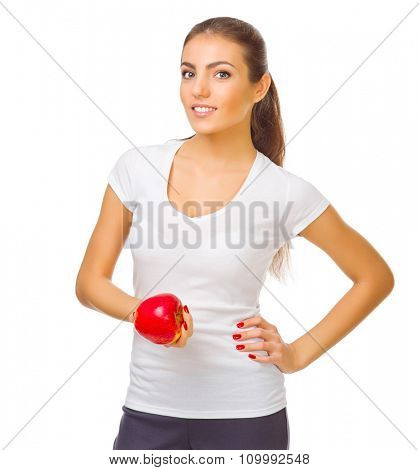 Young girl with apple isolated