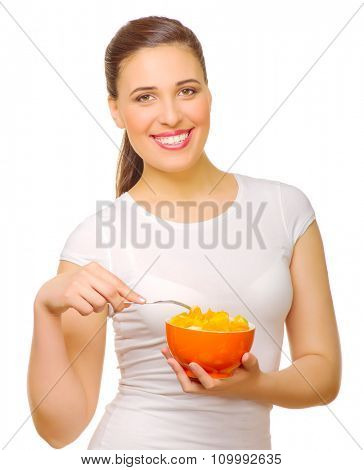 Young girl with fruit salad isolated