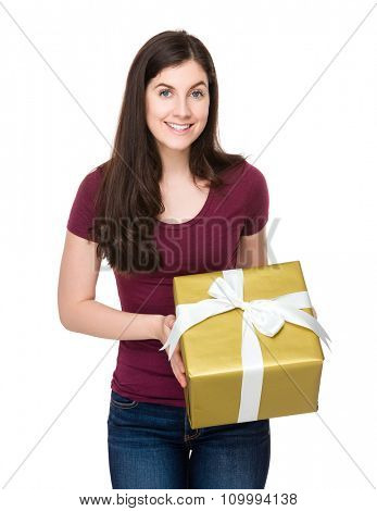 Caucasian woman hold with present box