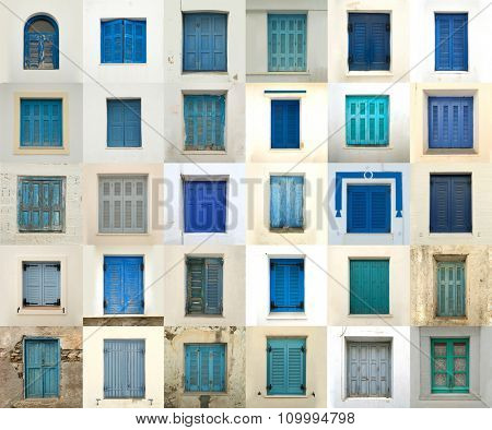 Collage of different blue windows in Greece