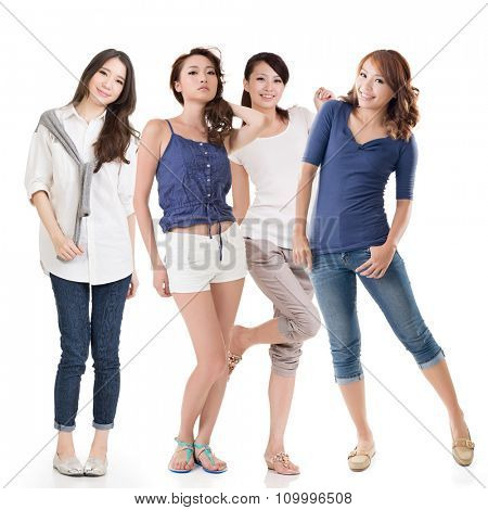 Young asian beautiful women, full length portrait isolated on the white background.