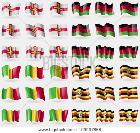 Guernsey, Malawi, Mali, Uganda. Set Of 36 Flags Of The Countries Of The World.