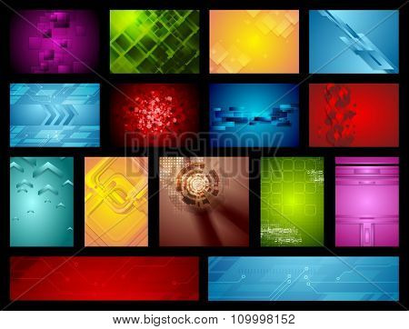 Bright abstract hi-tech backgrounds. Vector design collection