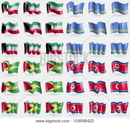 Kuwait, Aruba, Guyana, Korea North. Set Of 36 Flags Of The Countries Of The World.