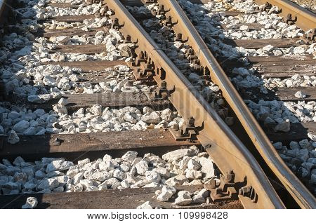 Railroad rails, sleepers and gravel