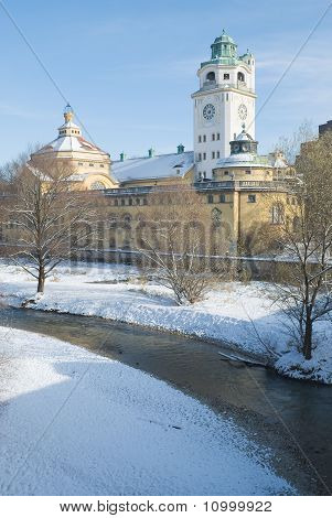 Volksbad And River In Winter