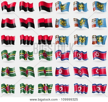 Upa, Saint Pierre And Miquelon, Dominica, Korea North. Set Of 36 Flags Of The Countries Of The
