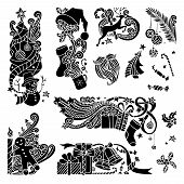 Постер, плакат: Vector Set Of Christmas Object Silhouettes