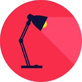 Table-lamp, Desk Lamp,  Reading-lamp With Light,  Flat Style Vector Illustration poster