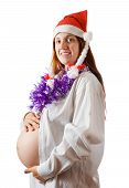 stock photo of tawdry  - picture of happy Pregnant woman with in santa hat - JPG