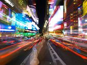 Time Square At Night With Motion Blurs #4