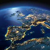Detailed Earth. Spain And The Mediterranean Sea On A Moonlit Night poster