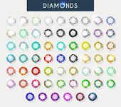 Big set 60 realistic colorful crystals, light reflection and shadow poster