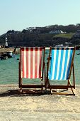 picture of st ives  - Empty deckchairs on St - JPG