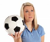 foto of underdog  - Frustrated woman holding soccer ball - JPG