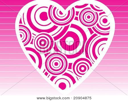 Valentines Day background with Hearts, filled with  circle elements , vector illustration