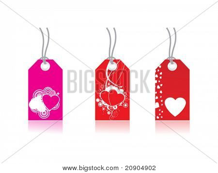 Tag  with heart, Price of love, Love Message, Vector Illustration