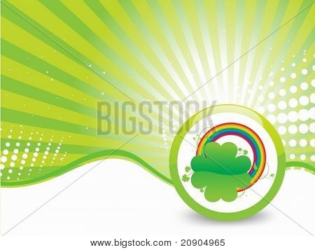 Clovers with Green background Vector Illustration