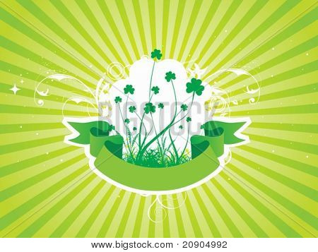 Clovers with Green Abstract Background Vector Illustration