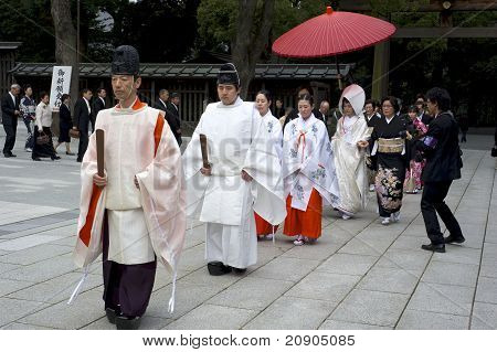 Shinto Wedding Ceremony At Meiji Shrine In Tokyo, Japan