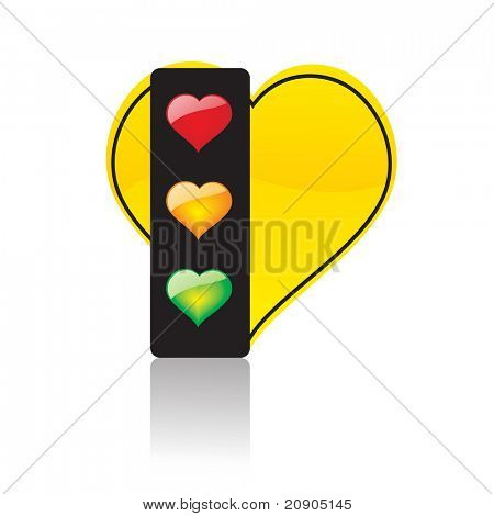 heart traffic light abstract background vector illustration