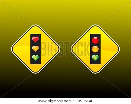 hearts traffic lights vector illustration abstract background